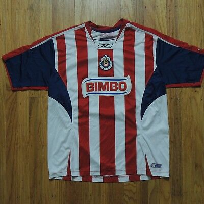 f6914d5ed Chivas Guadalajara Vtg Soccer Jersey Mens Reebok Red White Striped Size  Medium