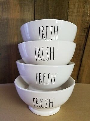"""Rae Dunn LL Set of 4 """"FRESH"""", Cereal, Ice cream, Soup Bowls"""