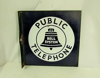 Vintage Bell System Public Telephone Flange Porcelain Two Side Sign - Original