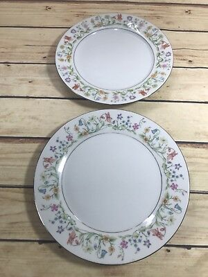 2 Misc Plates FLORAL Sea Gull Fine China Jian Shiang/Eternal Love Pattern 1982