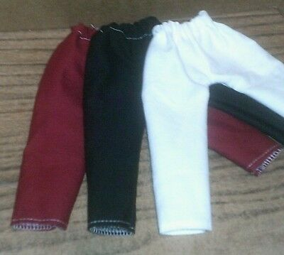 "14.5"" Doll Clothes-fit American Girl Wellie Wishers-Lot of 3 Pants-Blk/Red/White"