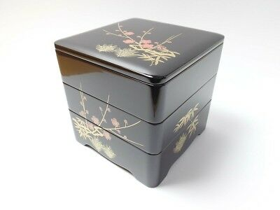 Japanese antique vintage black red lacquer wood 3 tiered Jubako box chacha