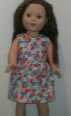 "18"" Doll Clothes-fit American Girl My Life-Dress-Red Pink Blue Geo"