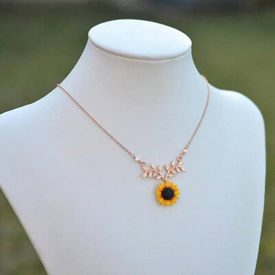 Fashion Women Crystal Sunflower Leaf Branch Pendant Chain Sweater Necklace Gift