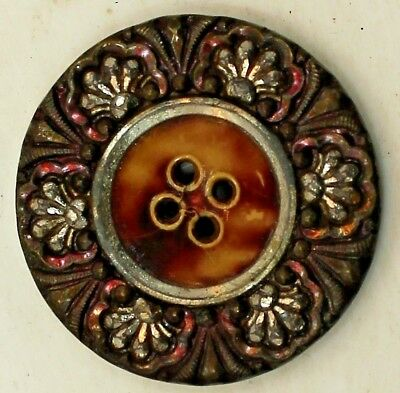 Antique Victorian Metal Celluloid Center Button W/cut Steels And Red Tint