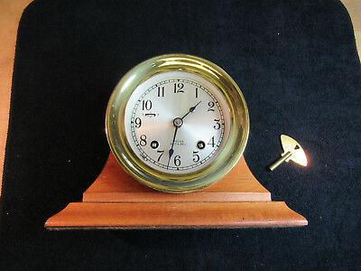 Chelsea Brass Ship's Clock in Stand w/key