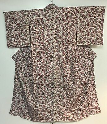 Vintage White Kimono Decorated with Pink Flowers  #224