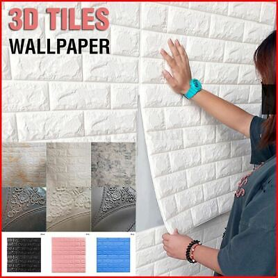 2x 3D Wall Paper Panel Brick Stickers Mural Marble Adhesive Home Decal White
