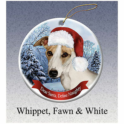 Whippet Fawn and White Howliday Porcelain China Dog Christmas Ornament
