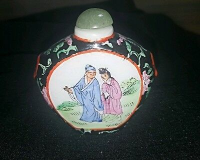 antique Chinese snuff bottle bird flowers asian black white - estate vintage