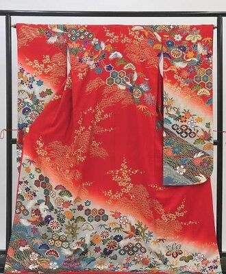 Red with japanese crane pattern Furisode Japanese Vintage Kimono