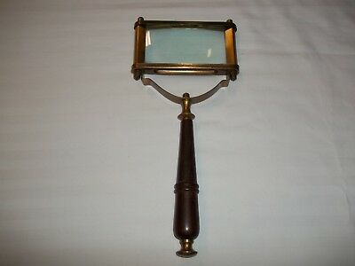 Vintage Brass Magnifying Glass With Wood Handle