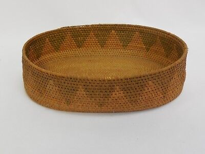 Old Native American Oval Basket With Triangle Pattern