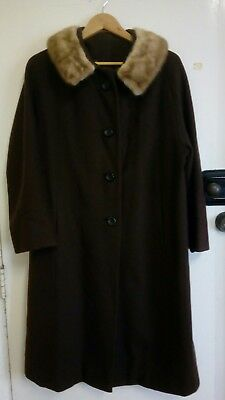 vintage brown pure wool coat with fur collar