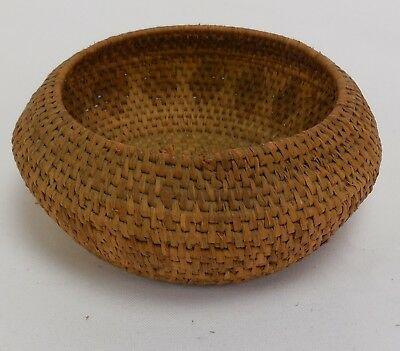 Old Native American Basket With Repeating Diamond Pattern