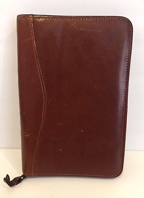 VTG Scully Organizer Agenda Zip Planner Quality Aged Leather Brown Distressed