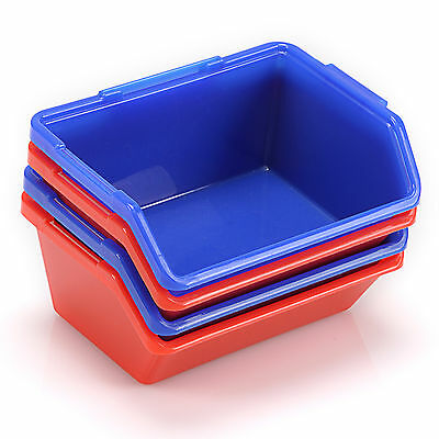 New Red/Blue Open Fronted Storage Bins Plastic Parts Picking Workshop Box Small