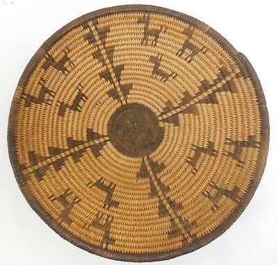 Old Apache Native American Coil Basket Bowl Repeating Animal Pattern