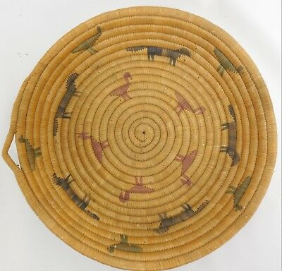 Old Native American Wide Coil Basket Bowl Repeating Animal Pattern