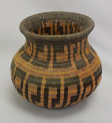 Old Native American Basket With Repeating Pattern