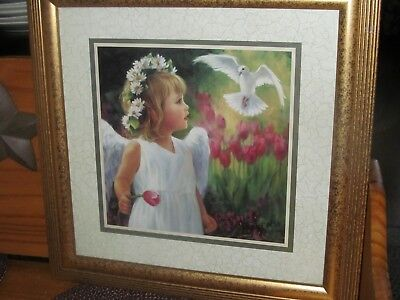 Vintage Home Interior Print of Angel Girl w/ White Dove by Laurie Snow Hein