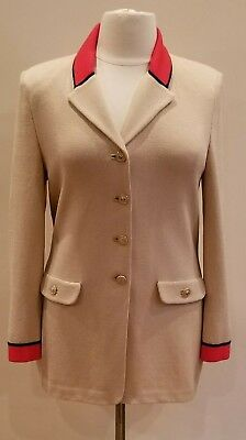 St. John Collection by Marie Gray Camel w/Red Trim Jacket - Size 14