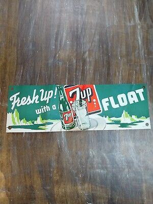 """Vintage 7up Seven """"Fresh Up! With A FLOAT"""" Paper Advertising Sign 16"""" USA  lot C"""