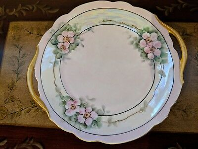 Vintage Hand Painted Floral Porcelain Handled Gilded Cake Plate Cookie Tray