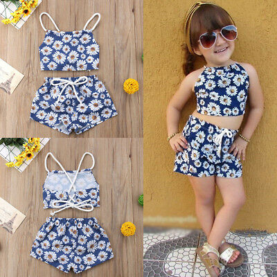 HOT Newborn Kids Baby Girls Flower Crop Vest Top Short Pants Outfits Clothes