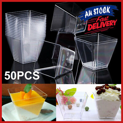 50x Starter Mini 2oz Party Tableware Sauce Dessert Cup Square Plastic Cube Clear