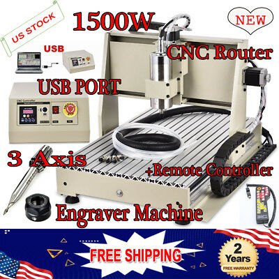 USB 1.5KW 3 Axis CNC 6040 Router Engraver Dril Mill 3D Carving+Manual Controller