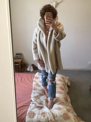 Vintage Cream Sherpa Teddy Faux Fur Coat