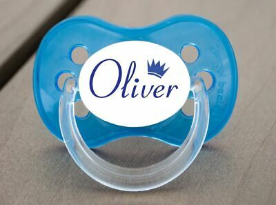 Personalised Dummy Pacifier Soother, All Teats,Sizes & Colours, Name & Crown B