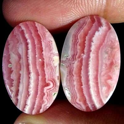 32.40Cts RARE Natural Pink Rhodochrosite Oval~Pair Cabochon Loose Gemstone