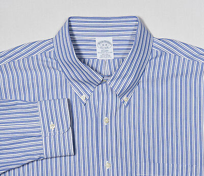 Brooks Brothers a Bottoni Camicia 18-38 Regent in Blu Fiordaliso Banchiere Righe