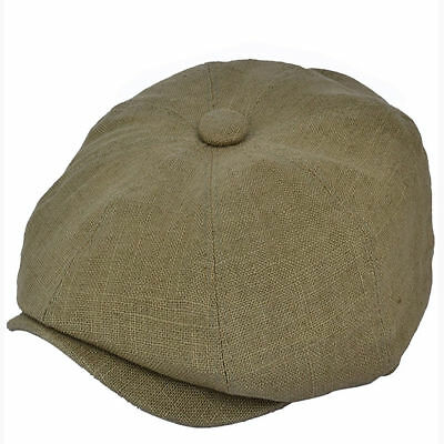 G & H Green Olive Summer Linen 8 Panel Peaky Blinders Style Newsboy Cap Hat