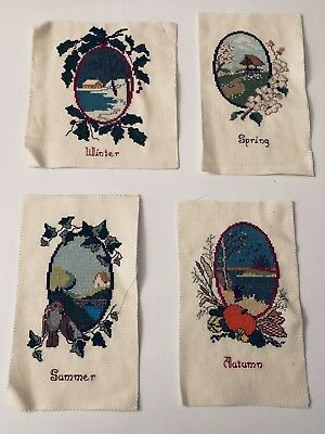 Vintage Four Seasons Petit Point Needlepoint Pictures Ready To Be Framed