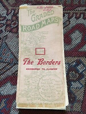 """2 Old Cloth Maps Graded Road Map The Borders And Kelso 1"""" map Scotland"""