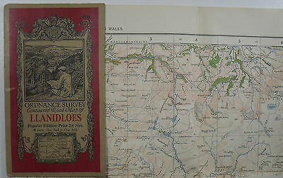 1922 Old Vintage OS Ordnance Survey Popular Edition One-Inch Map 69 llanidloes