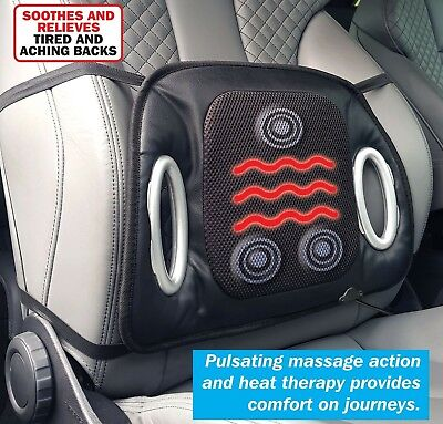 Streetwize Black 12V Car Heated Seat Cushion with Lumbar Back Support & Massage