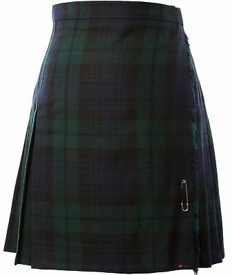 Ladies Knee Length Skirt/Kilt Pure Wool 12oz Black Watch Tartan Size UK 16