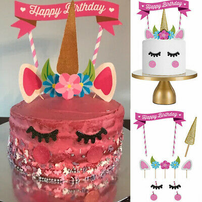 Glitter Unicorn Horn Happy Birthday Cake Topper Banner Decoration Kids Party DIY