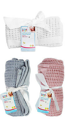 Pure 100% Cotton Baby Cellular Soft Blanket Cot Bed Mosses Pram Basket Soft Arms