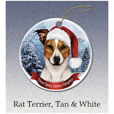 Rat Terrier Tan Howliday Porcelain China Dog Christmas Ornament