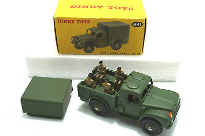 1950's  Dinky Toys 641 Army 1-Ton Cargo Truck + Figures   - NOS / MIB Lagerfund