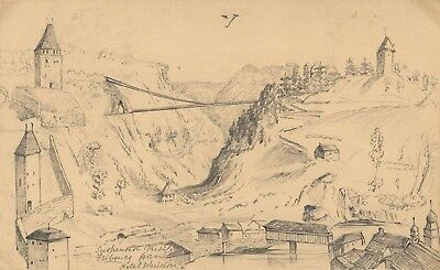 B. Stanton, Suspension Bridge, Fribourg - 19th-century graphite drawing