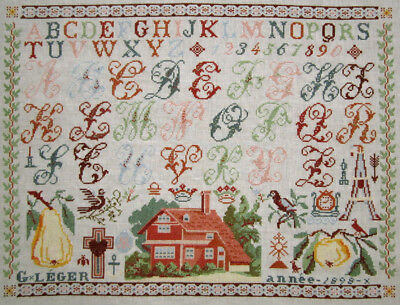 Gorgeous! Completed Cross Stitch Sampler Finished Needlwork Antique French Style