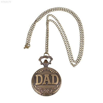 FCED Dad Vintage Style Chain Dangle Quartz Brass Pocket Watch Father's Day Gift