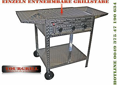 Top Gasgrill 3 Flammig  Top Rost -Einzeln Untergestell  Mobil Ablagen Yourgrill