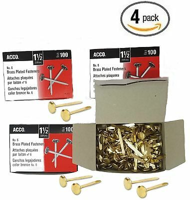 Value Pack ACCO Brass Plated Paper Fastener, 1.5 Inch Length, 4 boxes of 100 ...